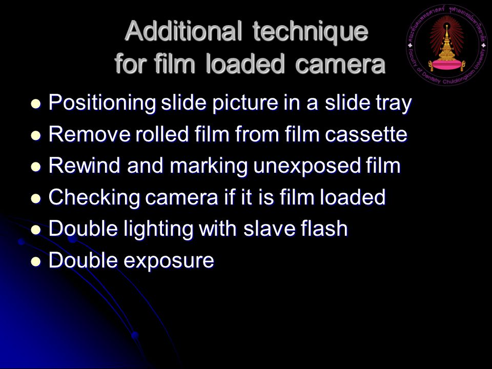 Additional technique for film loaded camera