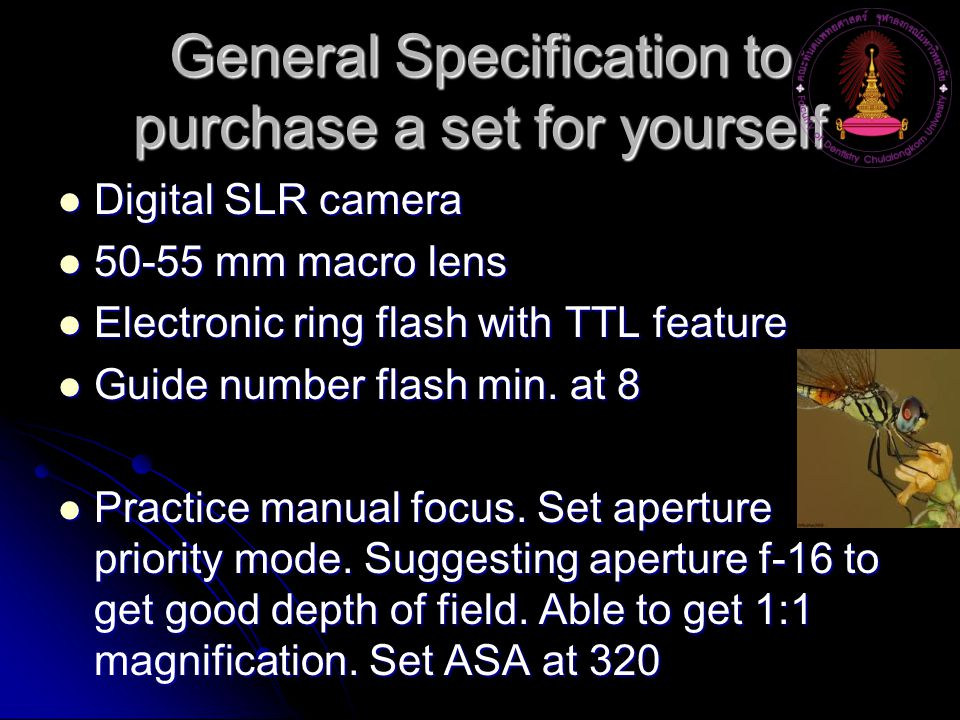 General Specification to purchase a set for yourself