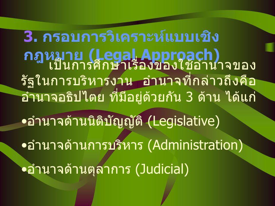 3. กรอบการวิเคราะห์แบบเชิงกฎหมาย (Legal Approach)