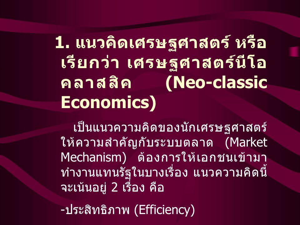 -ประสิทธิภาพ (Efficiency) -ความคุ้มค่าของเงิน (Value for Money )
