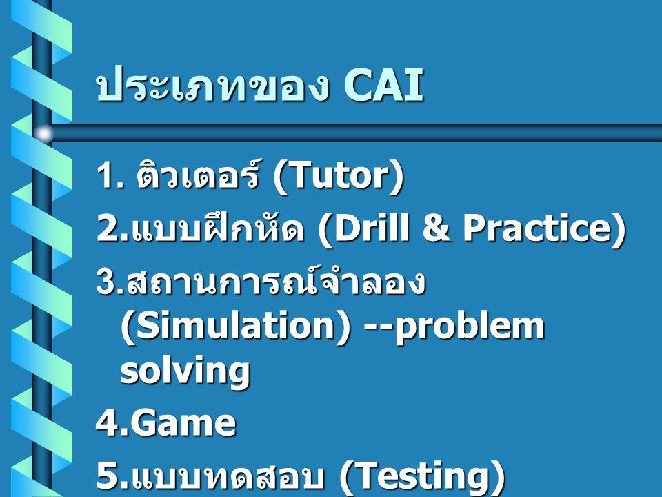 ประเภทของ CAI 1. ติวเตอร์ (Tutor) 2.แบบฝึกหัด (Drill & Practice)