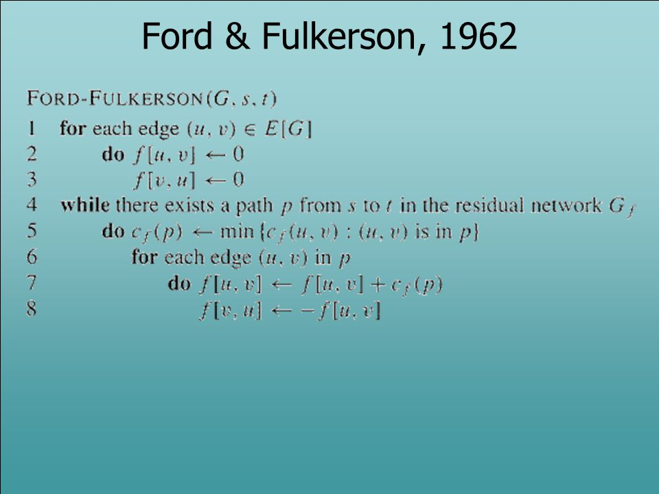 Ford & Fulkerson, 1962