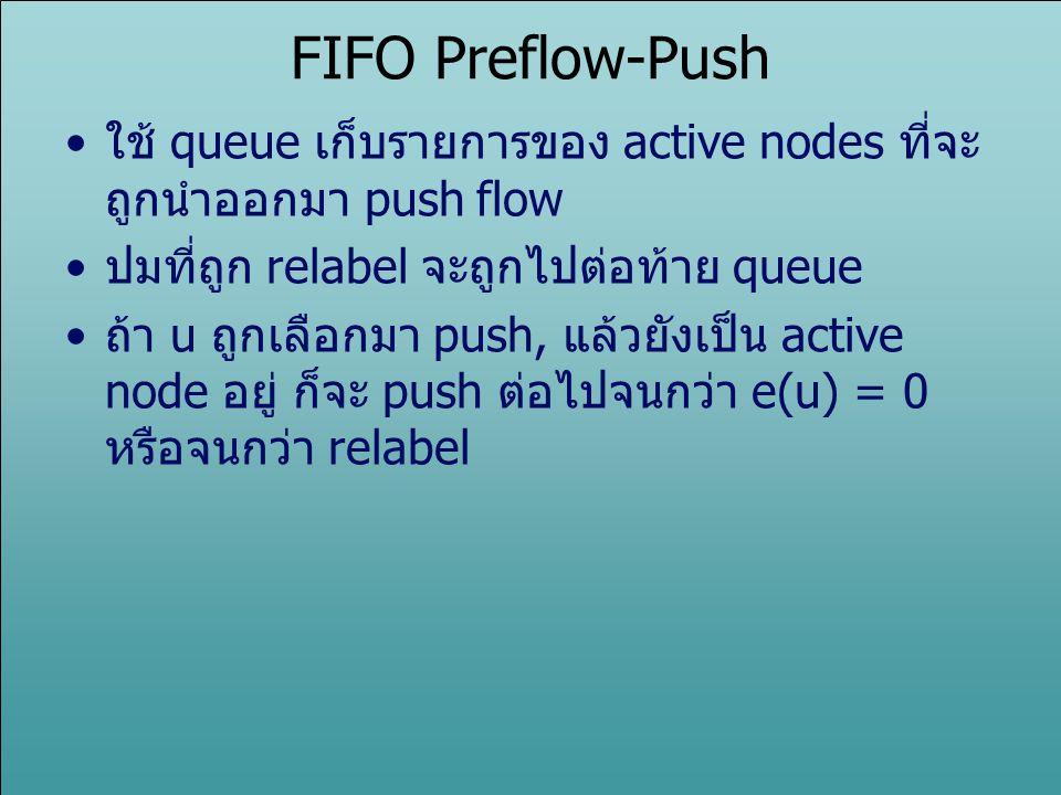 FIFO Preflow-Push ใช้ queue เก็บรายการของ active nodes ที่จะถูกนำออกมา push flow. ปมที่ถูก relabel จะถูกไปต่อท้าย queue.