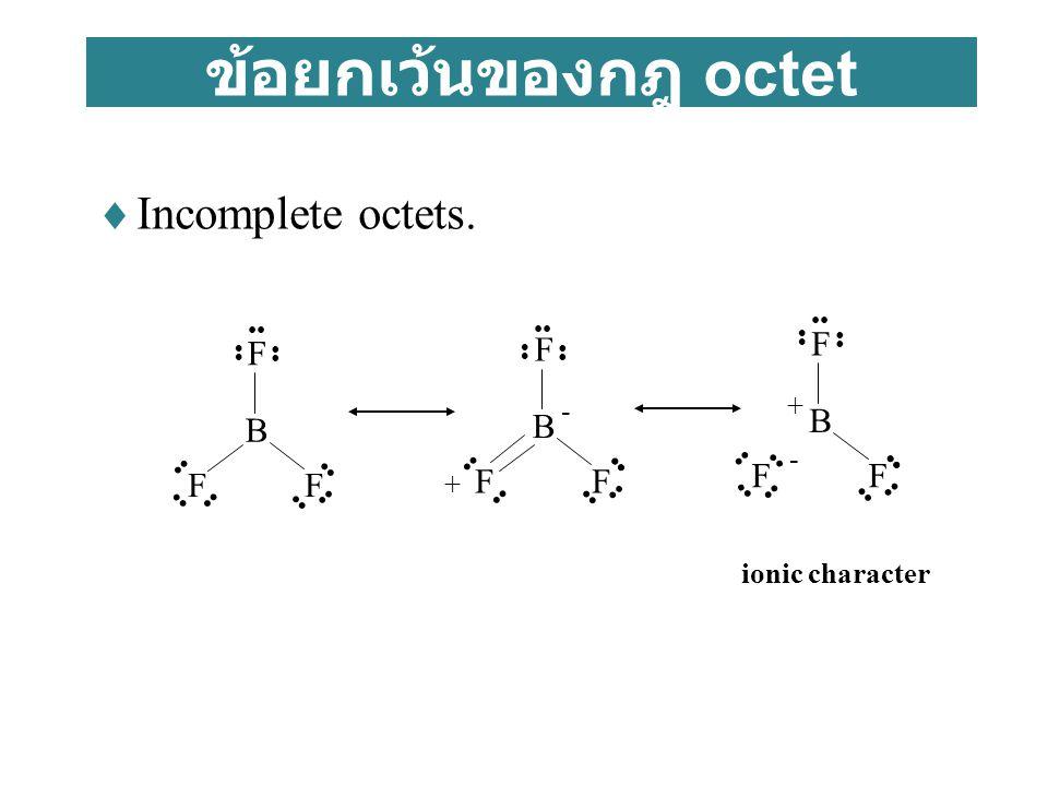 ข้อยกเว้นของกฎ octet Incomplete octets. B F B F F B F F + - - +
