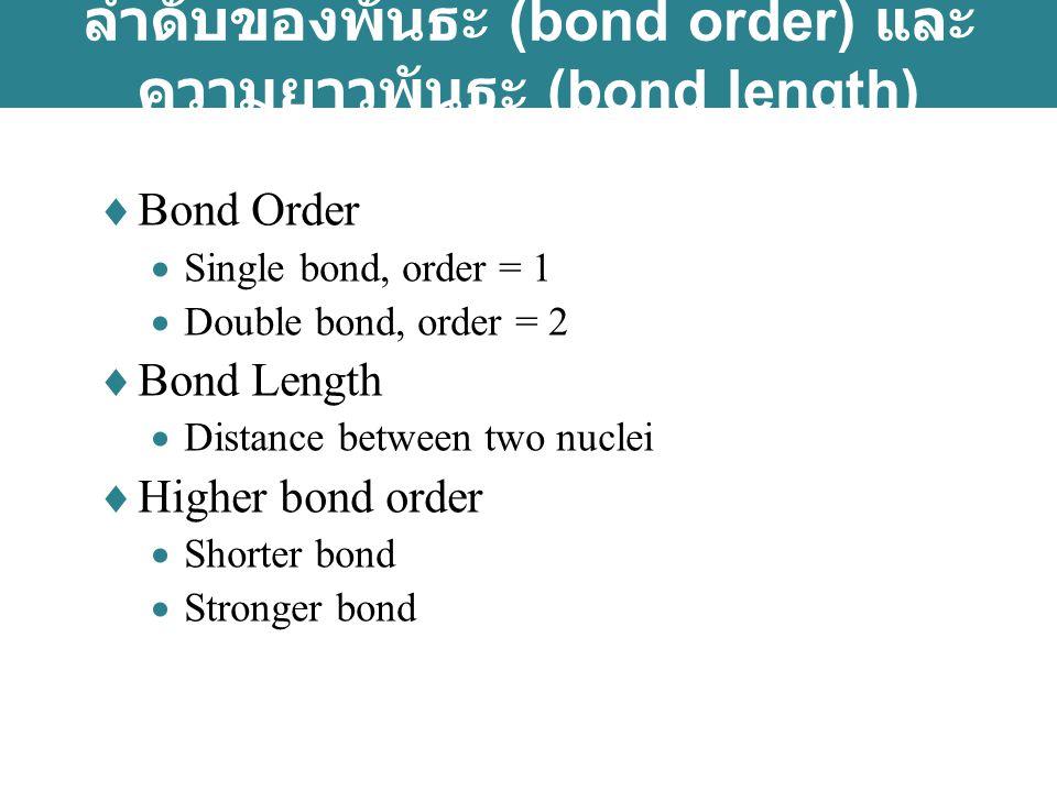 ลำดับของพันธะ (bond order) และความยาวพันธะ (bond length)
