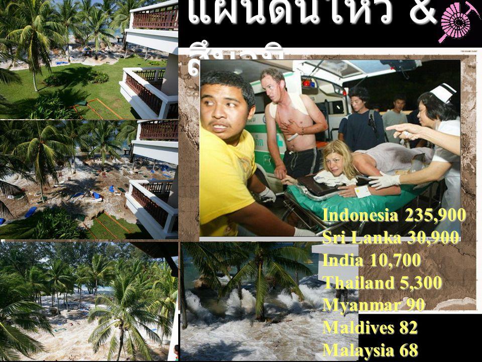 แผ่นดินไหว & สึนามิ Indonesia 235,900 Sri Lanka 30,900 India 10,700