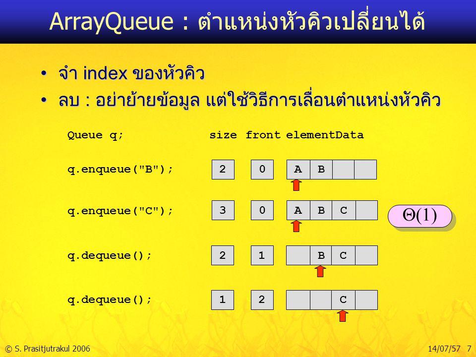 ArrayQueue : ตำแหน่งหัวคิวเปลี่ยนได้