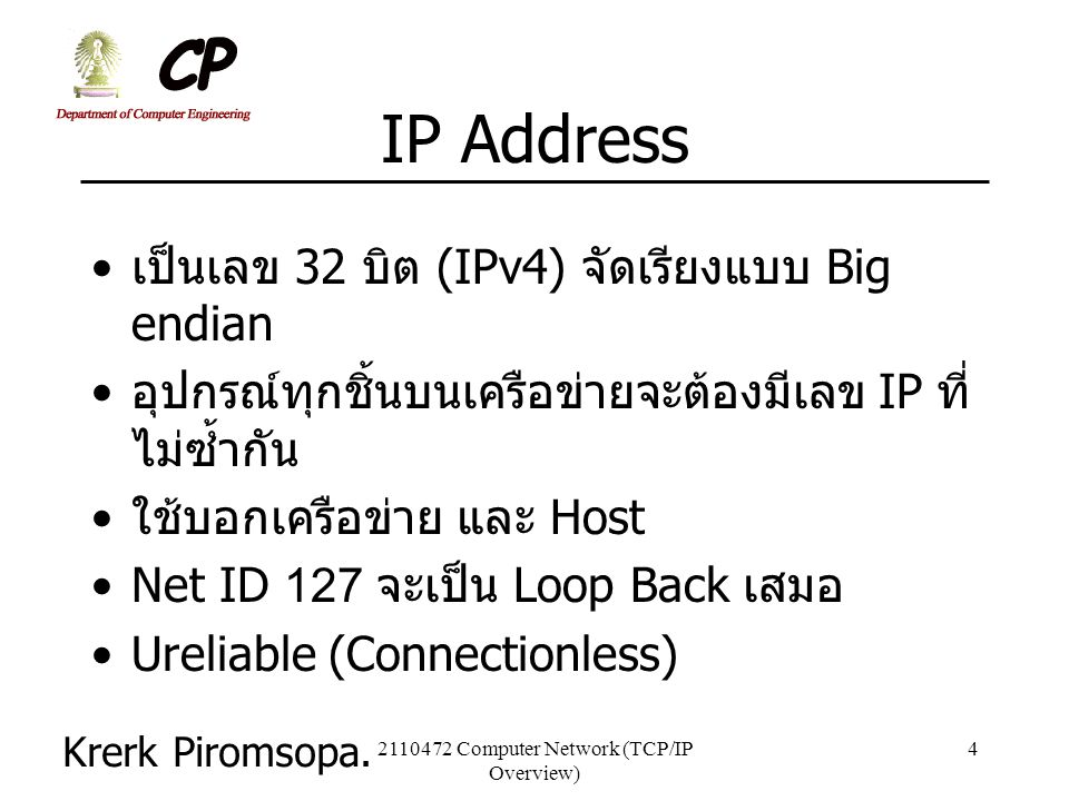 2110472 Computer Network (TCP/IP Overview)