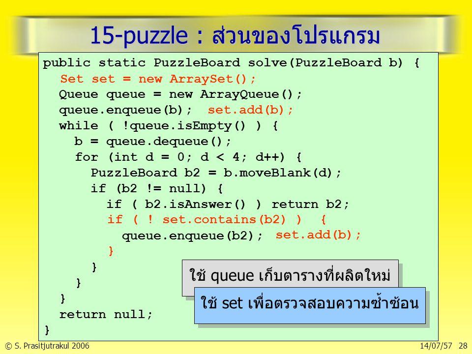15-puzzle : ส่วนของโปรแกรม
