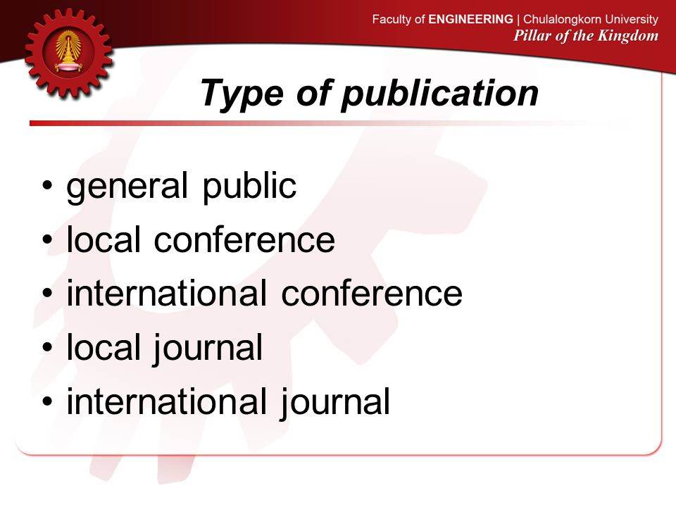 Type of publication general public. local conference.