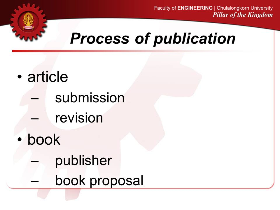 Process of publication