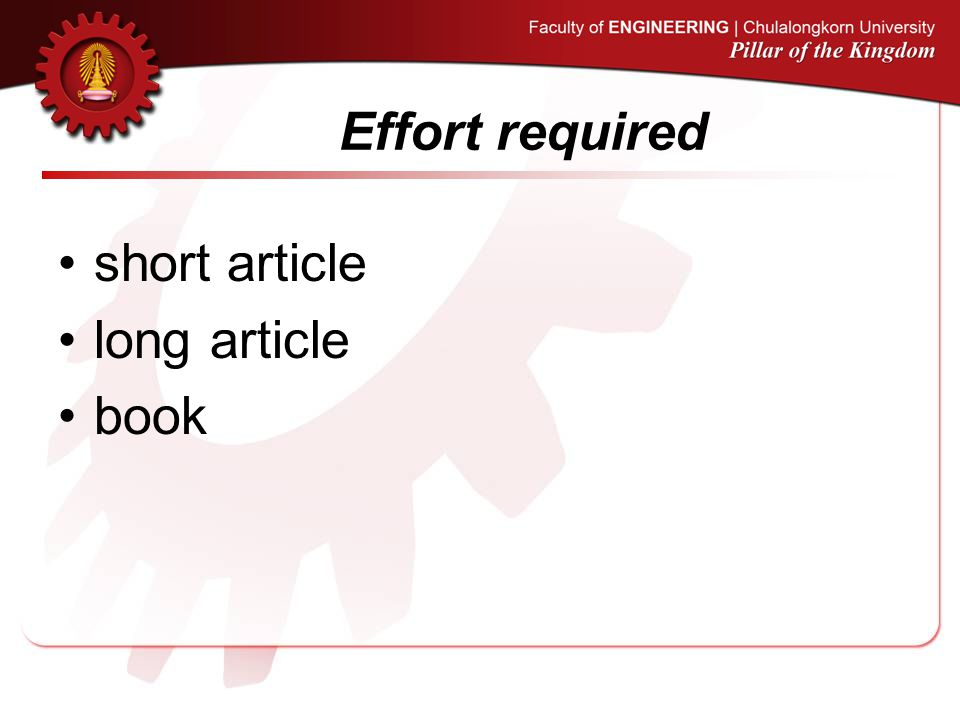 Effort required short article long article book