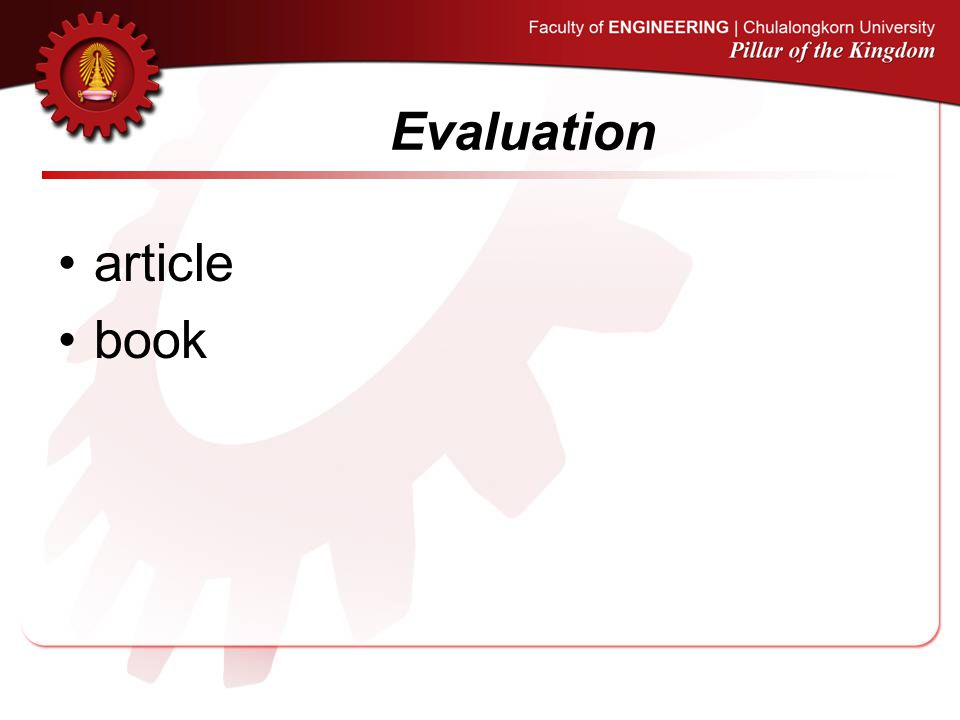 Evaluation article book