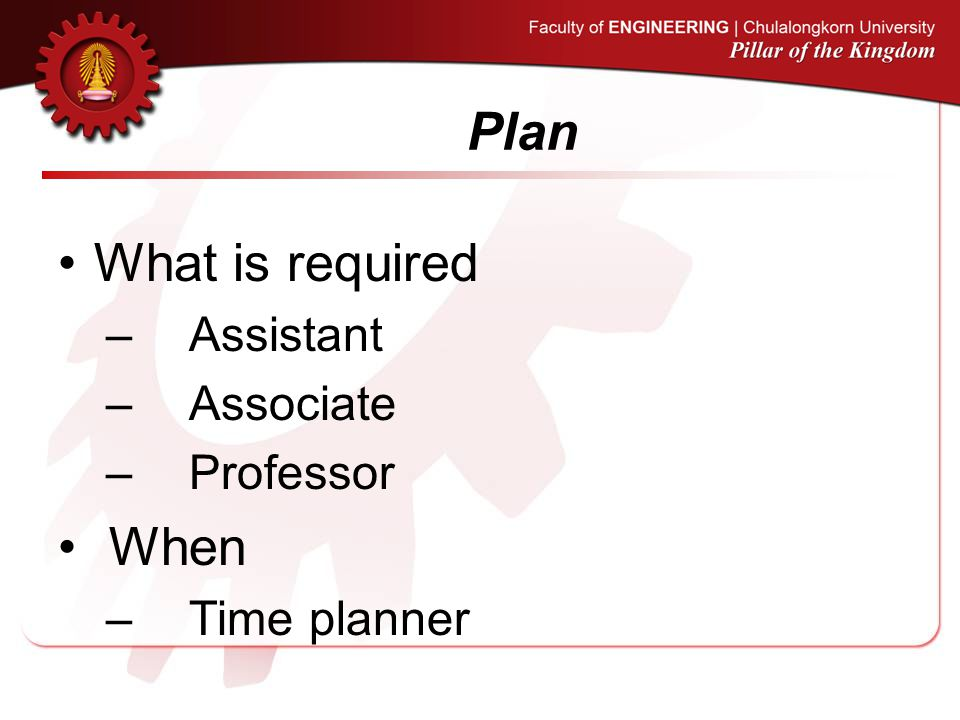 Plan What is required Assistant Associate Professor When Time planner