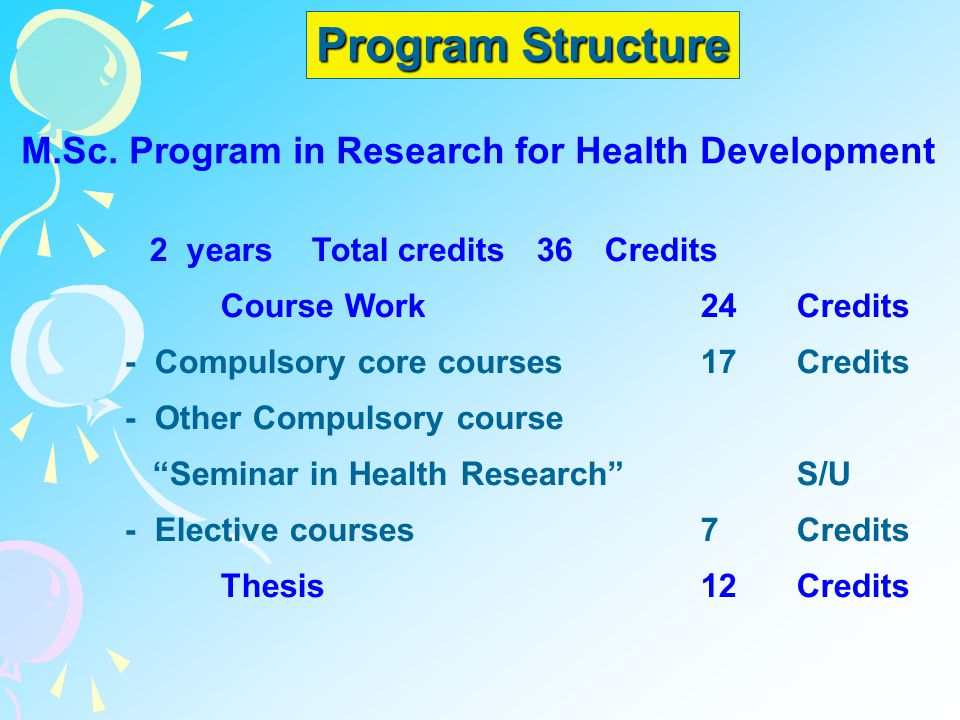 Program Structure M.Sc. Program in Research for Health Development