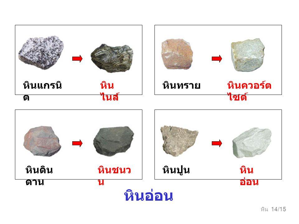 หินอ่อน หินแกรนิต หินไนส์ หินทราย หินควอร์ตไซต์ หินดินดาน หินชนวน