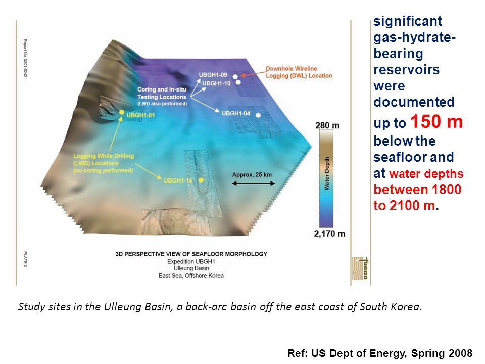 significant gas-hydrate-bearing reservoirs were documented up to 150 m below the seafloor and at water depths between 1800 to 2100 m.