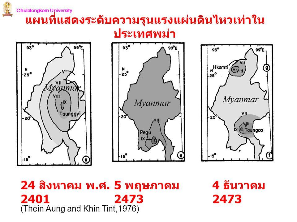 แผนที่แสดงระดับความรุนแรงแผ่นดินไหวเท่าในประเทศพม่า
