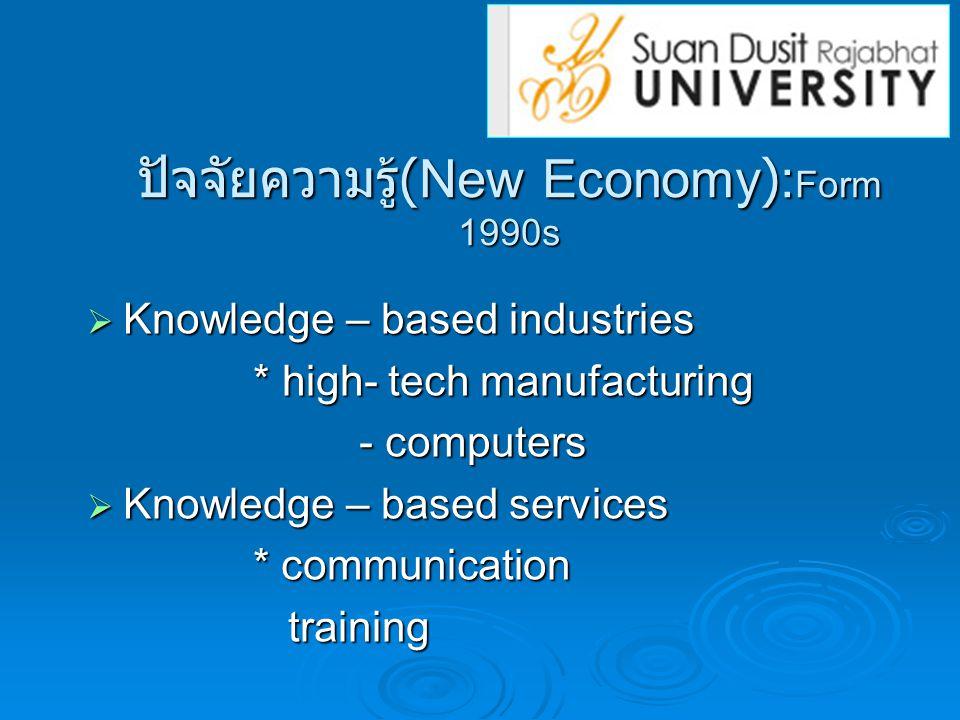 ปัจจัยความรู้(New Economy):Form 1990s