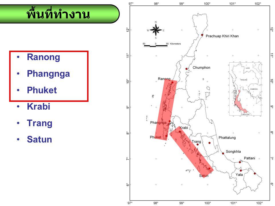 พื้นที่ทำงาน Ranong Phangnga Phuket Krabi Trang Satun