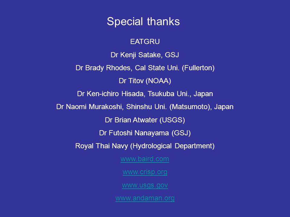 Special thanks EATGRU Dr Kenji Satake, GSJ
