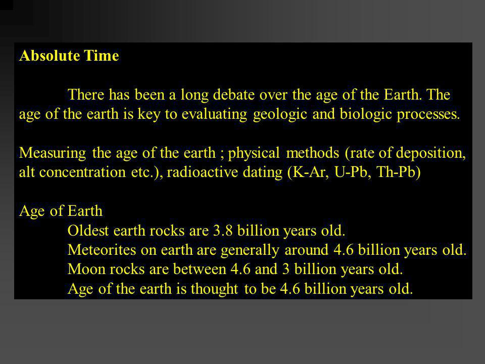 Absolute Time There has been a long debate over the age of the Earth. The. age of the earth is key to evaluating geologic and biologic processes.