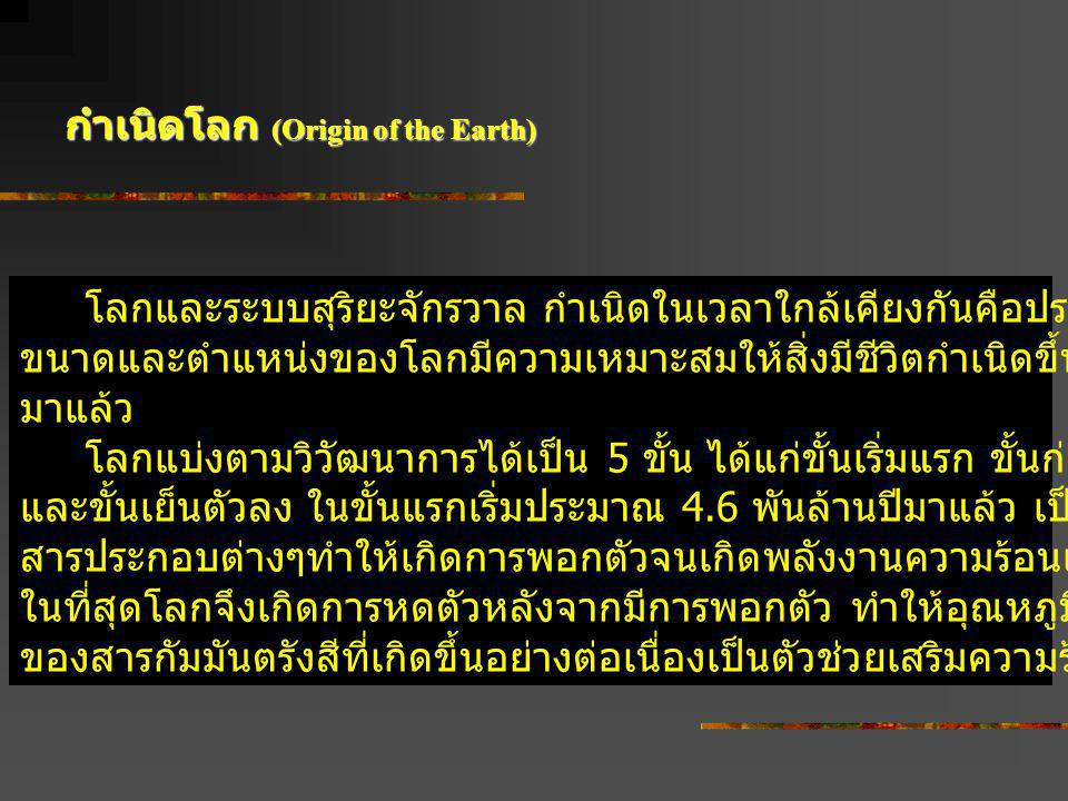 กำเนิดโลก (Origin of the Earth)