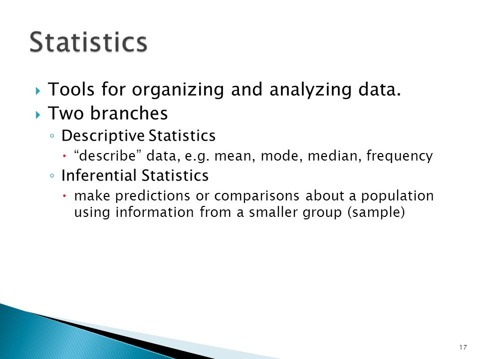 Statistics Tools for organizing and analyzing data. Two branches