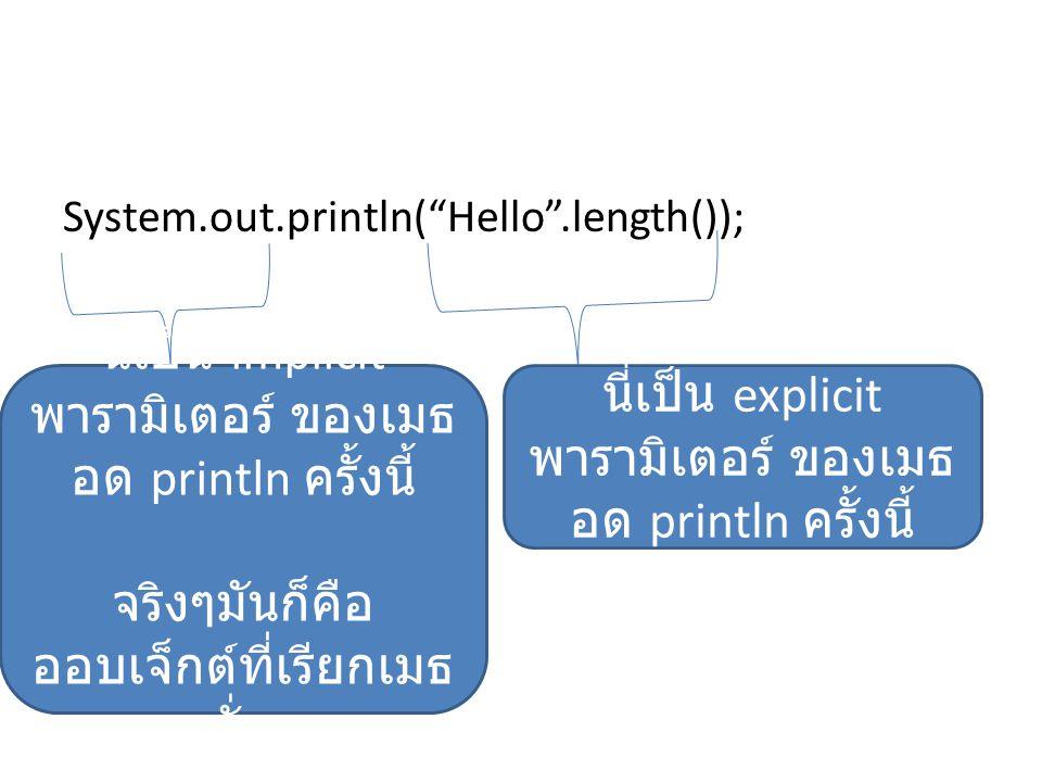 นี่เป็น implicit พารามิเตอร์ ของเมธอด println ครั้งนี้