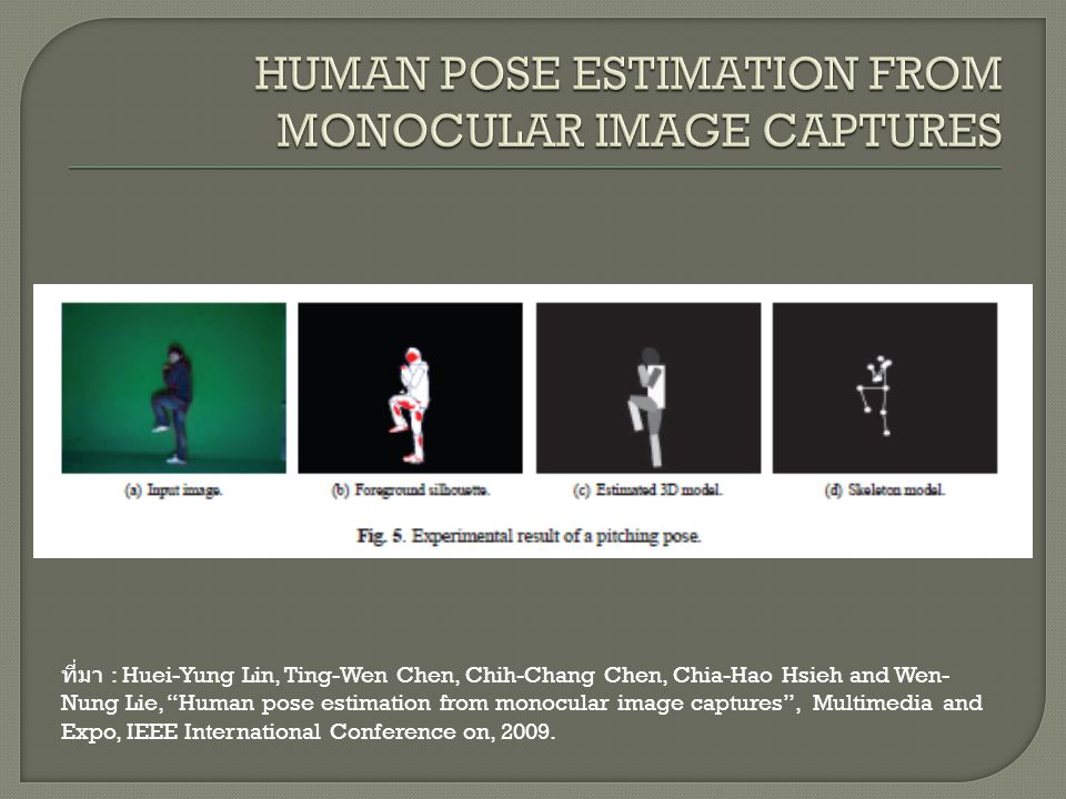 HUMAN POSE ESTIMATION FROM MONOCULAR IMAGE CAPTURES