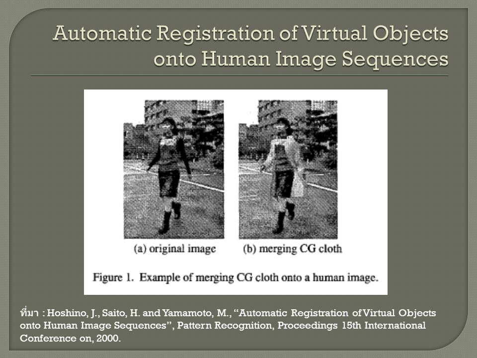 Automatic Registration of Virtual Objects onto Human Image Sequences