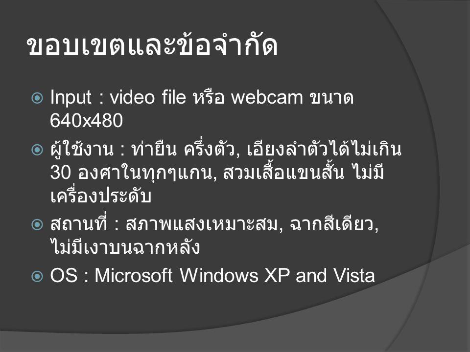 ขอบเขตและข้อจำกัด Input : video file หรือ webcam ขนาด 640x480