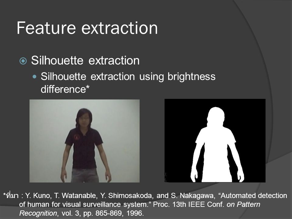 Feature extraction Silhouette extraction