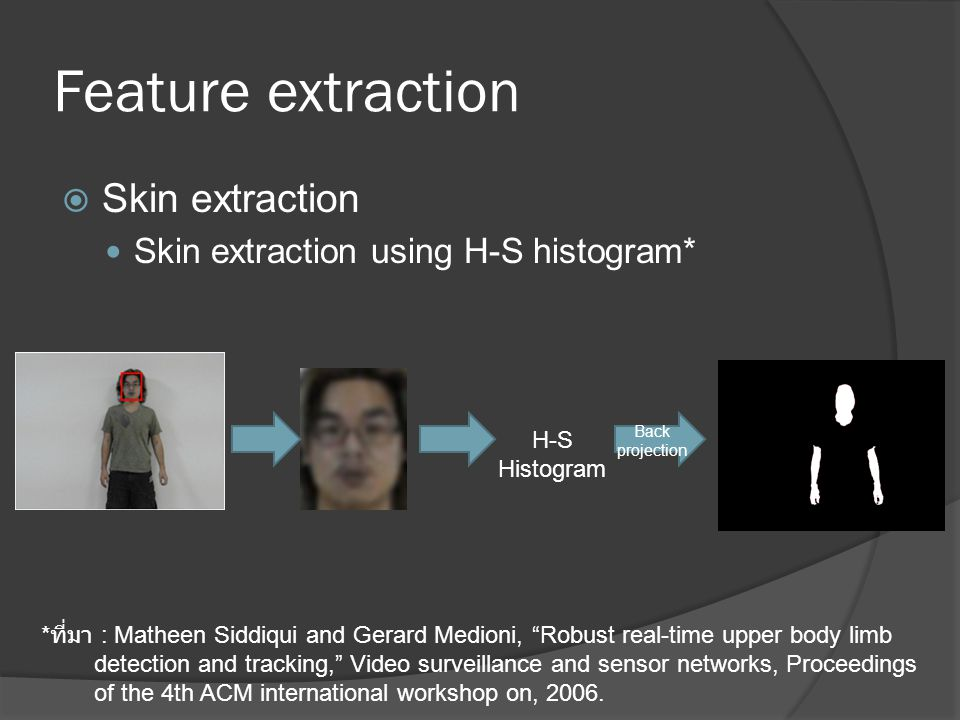 Feature extraction Skin extraction