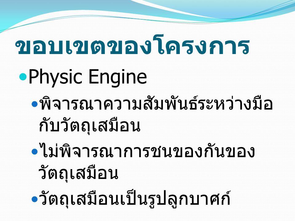 ขอบเขตของโครงการ Physic Engine