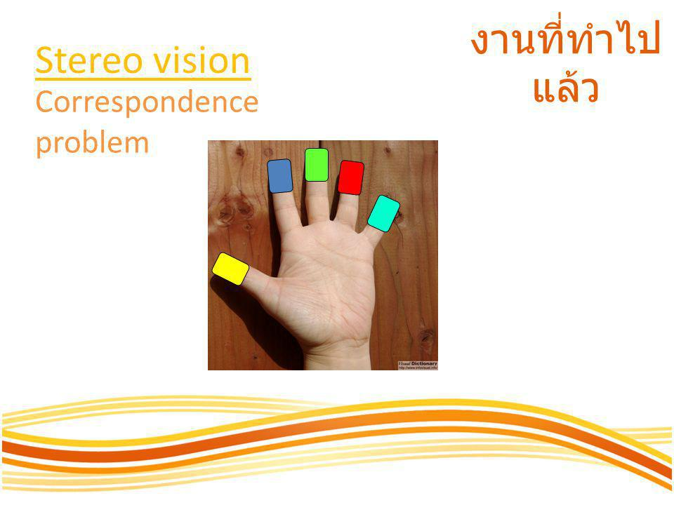 Stereo vision งานที่ทำไปแล้ว Correspondence problem