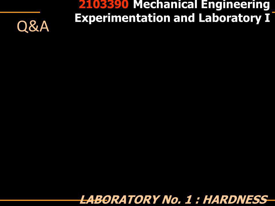 Q&A 2103390 Mechanical Engineering Experimentation and Laboratory I