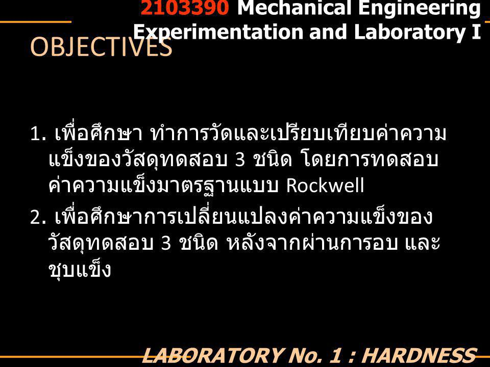 2103390 Mechanical Engineering Experimentation and Laboratory I