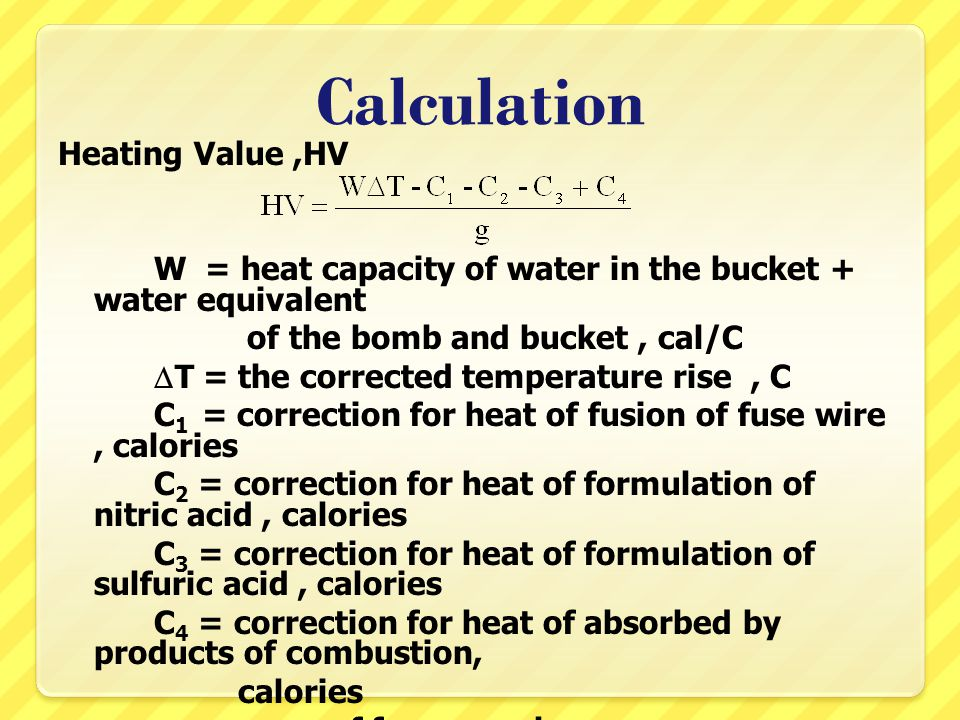 Calculation Heating Value ,HV