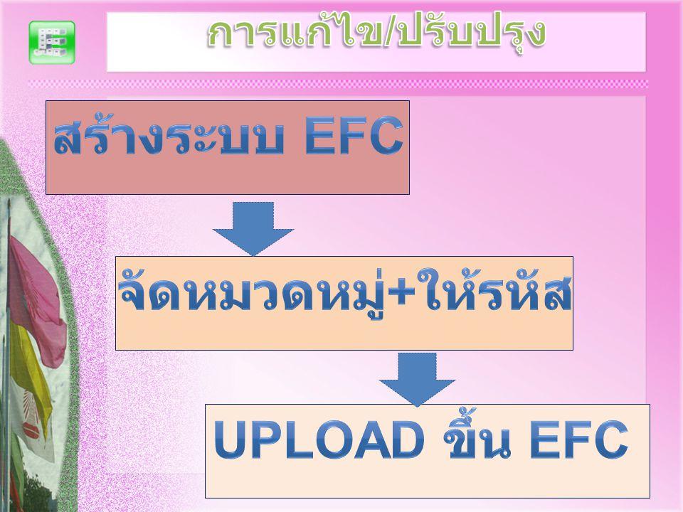 สร้างระบบ EFC จัดหมวดหมู่+ให้รหัส Upload ขึ้น EFC