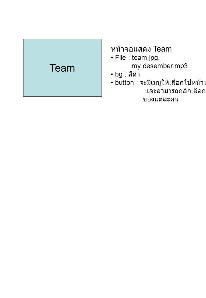 Team หน้าจอแสดง Team File : team.jpg, my desember.mp3 bg : สีดำ