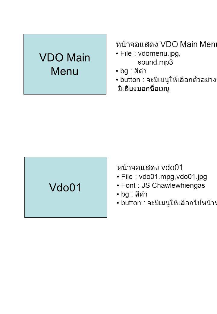 VDO Main Menu Vdo01 หน้าจอแสดง VDO Main Menu หน้าจอแสดง vdo01