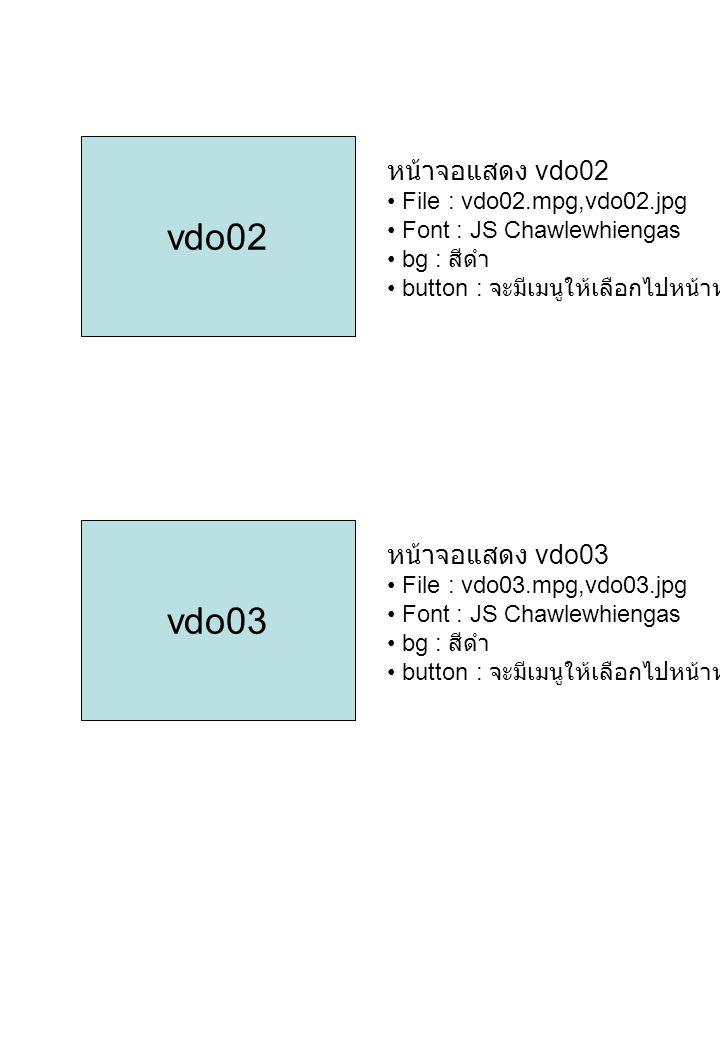 vdo02 vdo03 หน้าจอแสดง vdo02 หน้าจอแสดง vdo03
