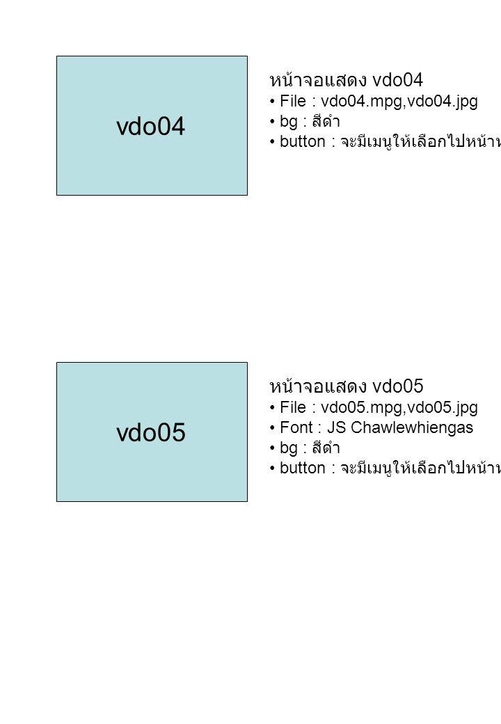 vdo04 vdo05 หน้าจอแสดง vdo04 หน้าจอแสดง vdo05