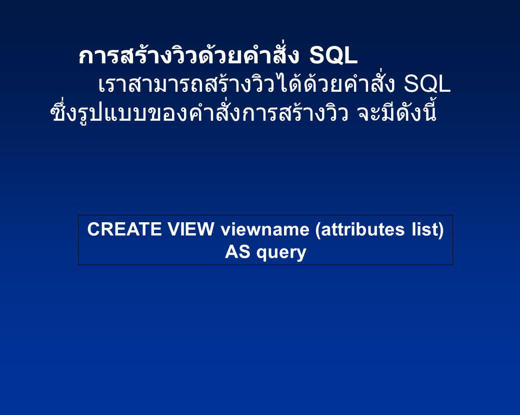 CREATE VIEW viewname (attributes list)
