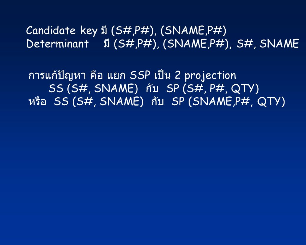 Candidate key มี (S#,P#), (SNAME,P#)