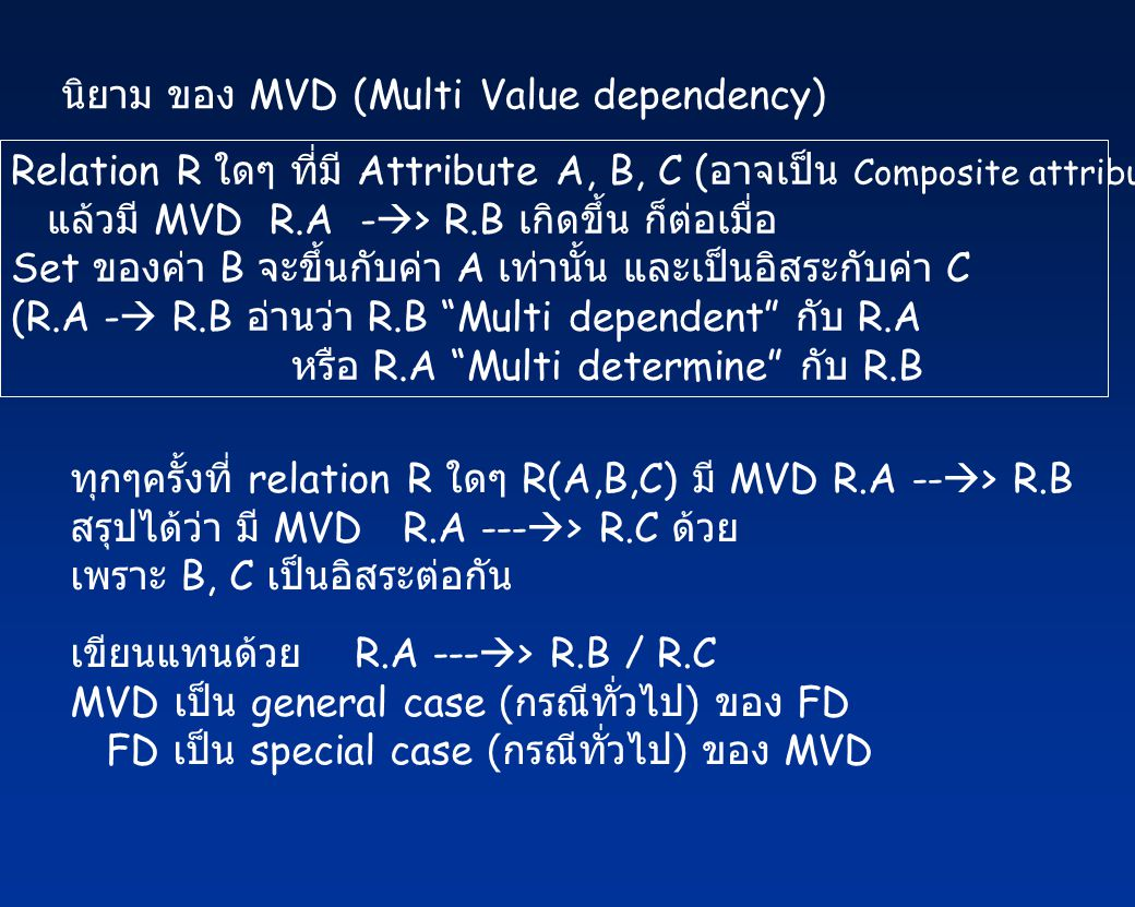 นิยาม ของ MVD (Multi Value dependency)