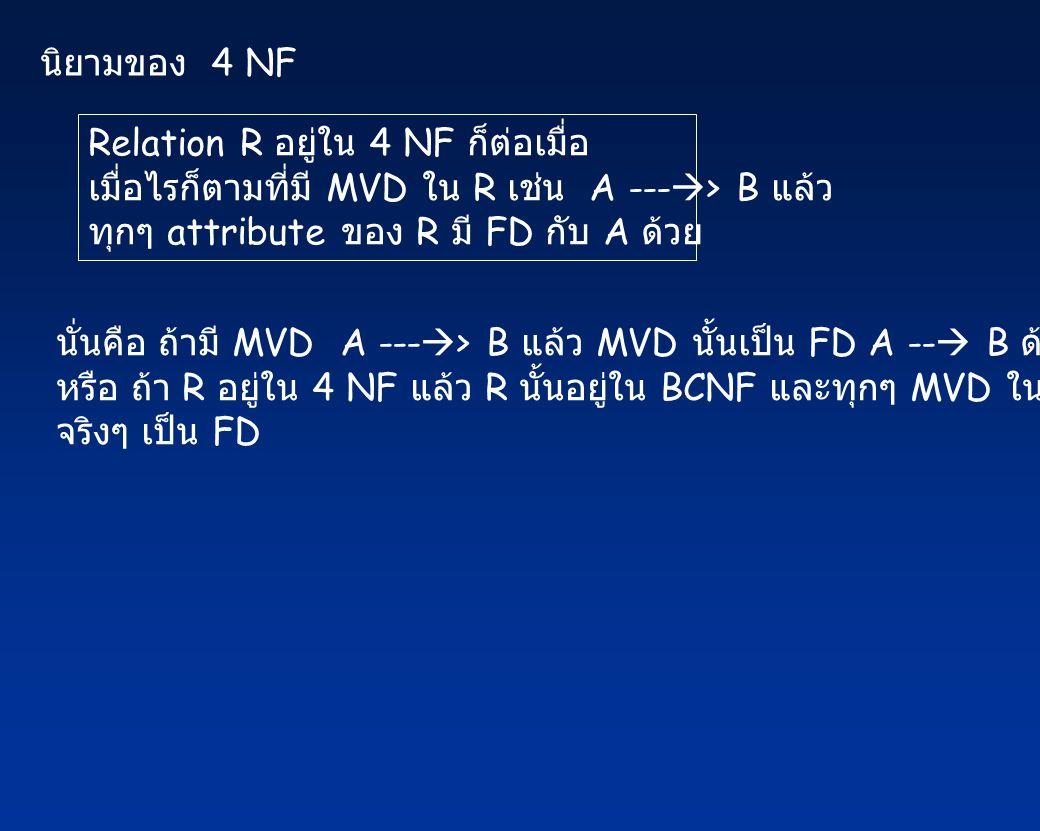 นิยามของ 4 NF Relation R อยู่ใน 4 NF ก็ต่อเมื่อ. เมื่อไรก็ตามที่มี MVD ใน R เช่น A ---> B แล้ว.