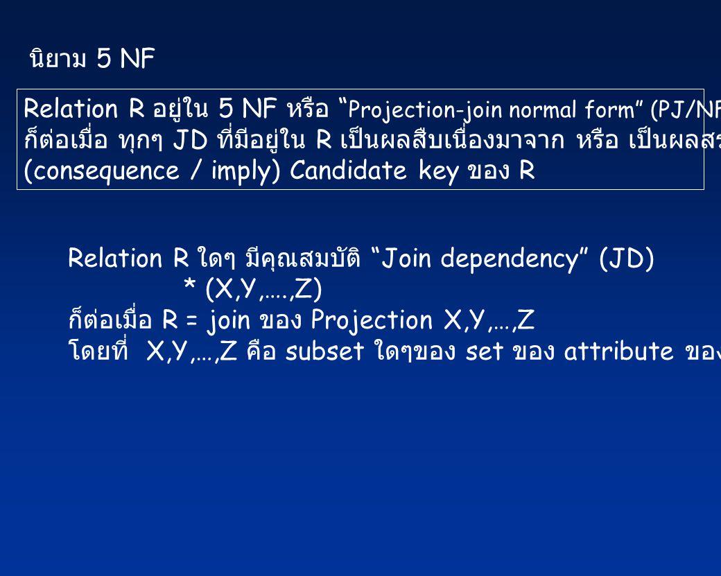 นิยาม 5 NF Relation R อยู่ใน 5 NF หรือ Projection-join normal form (PJ/NF)
