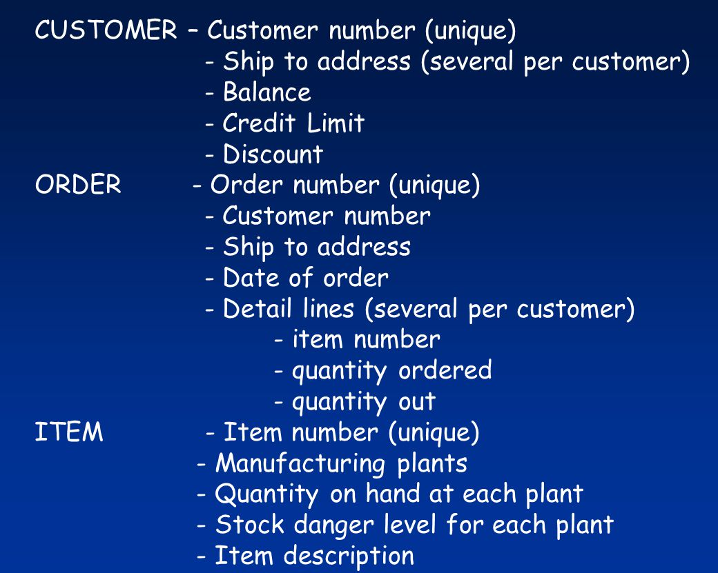 CUSTOMER – Customer number (unique)